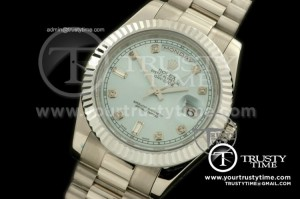 R2DD0174D - SS Pres Fluted Light Blue Diamond Swiss ETA
