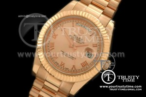 R2DD0175A - RG Pres Fluted Rose Gold Roman Swiss ETA