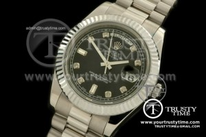 R2DD0174E - SS Pres Fluted Black Diamonds Swiss ETA