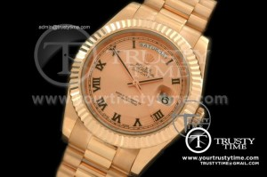 R2DD0175B - RG Pres Fluted Rose Gold Sunray Roman Swiss ETA